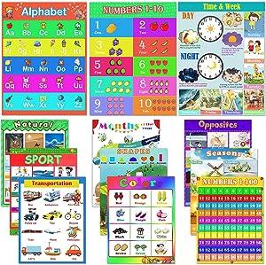 Educational Posters, Shynek 12pcs Preschool Learning Posters Laminated Alphabet Line Number Chart for Homeschool, Kindergarten Classroom, School Calendar and Teacher Supplies