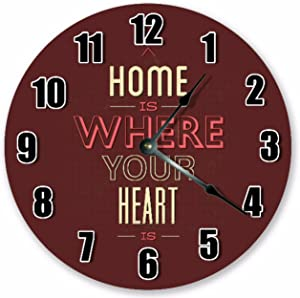 8Jo6Poe 12 inch Home is Where Your Heart is Clock Life Clock Living Room Clock Large 12 inch Wall Clock Home Décor Clock 3536