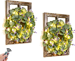 Farmhouse Window Frame Wall Decor - Window Pane with Artificial Wreath Fairy Light Rustic Wall Decor for Living Room Bedroom Hallway Entryway Wooden Window Decor Farmhouse Home Decor Set of 2, Purple