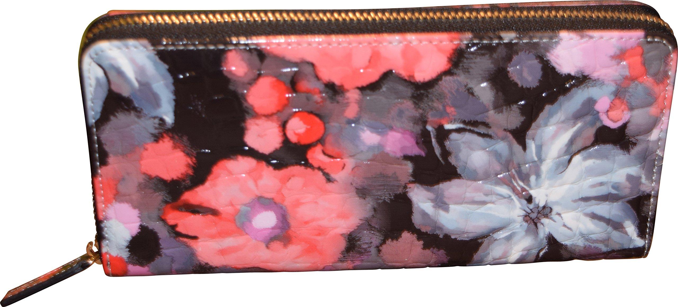 Genuine Top Grain Leather Women's Zip Around Wallet - Credit Card Clutch Organizer (Pink Flowers)