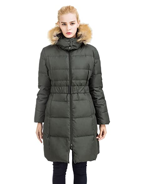 ADOMI Women's Belted Long Down Jacket With Faux-Fur-Trimmed Hood ...