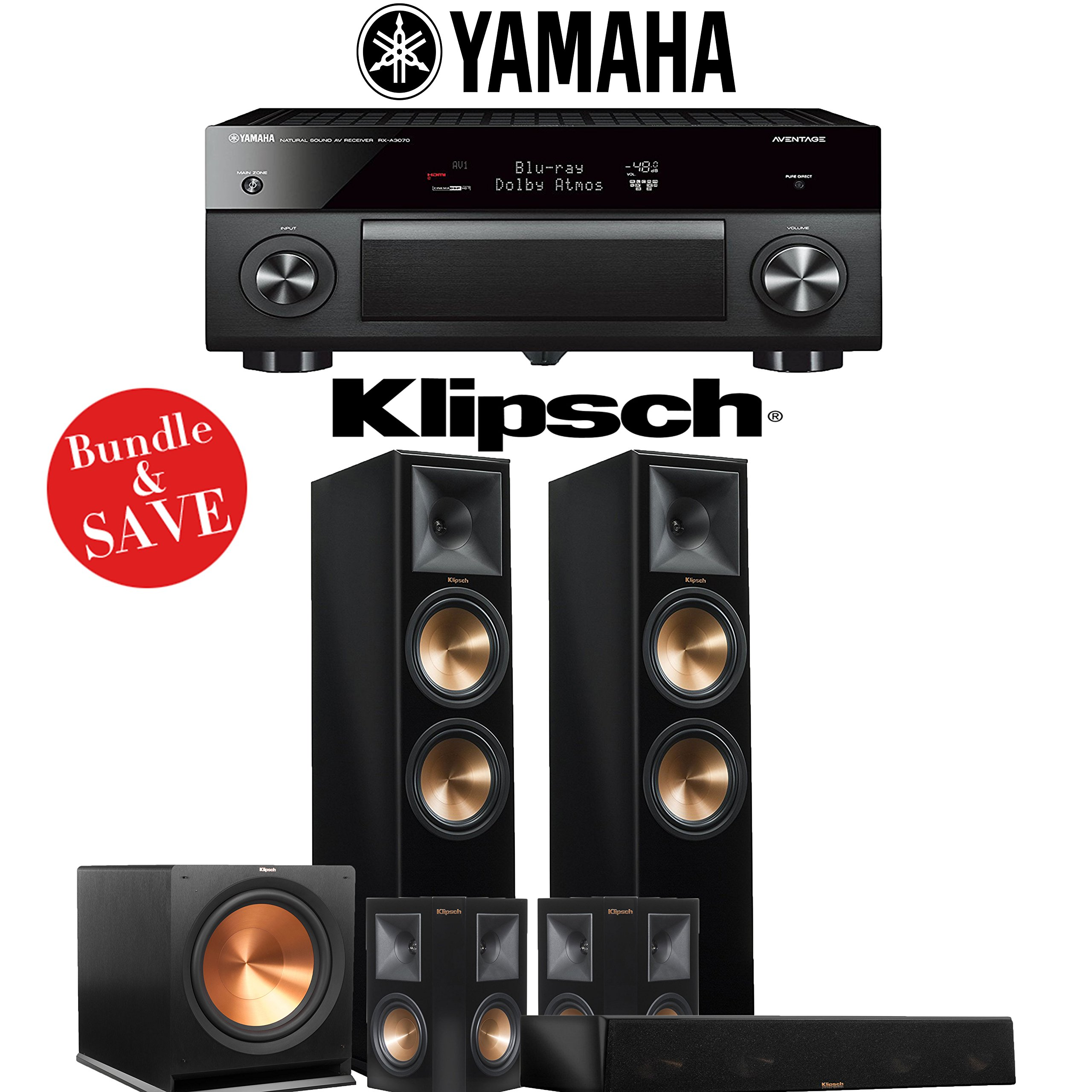 Klipsch RP-280F 5.1-Ch Reference Premiere Home Theater System (Piano Black) with Yamaha AVENTAGE RX-A3070BL 11.2-Channel Network A/V Receiver
