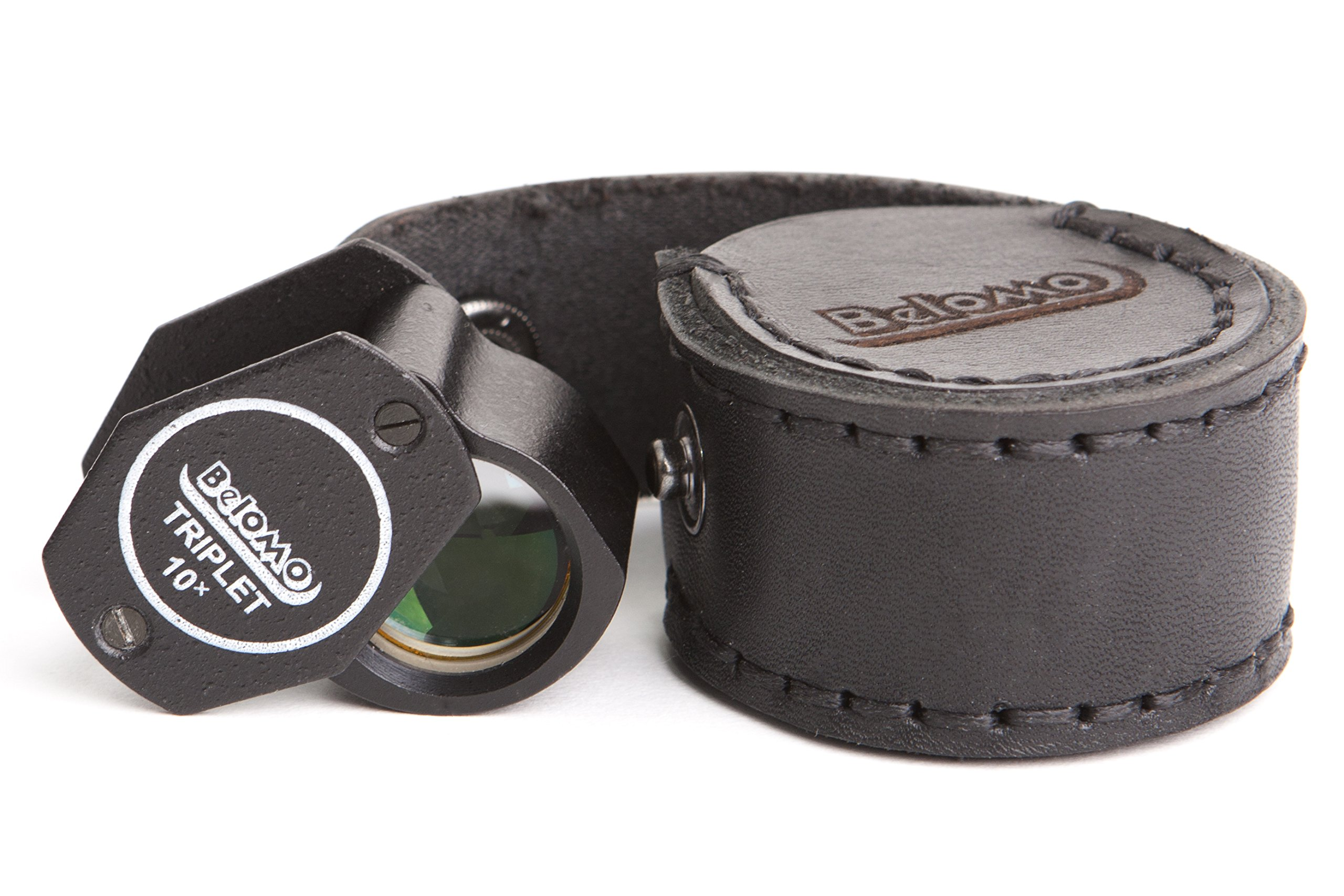 BelOMO 10x Triplet Loupe Magnifier with LEATHER CASE. 21mm (.85'') Folding Magnifier