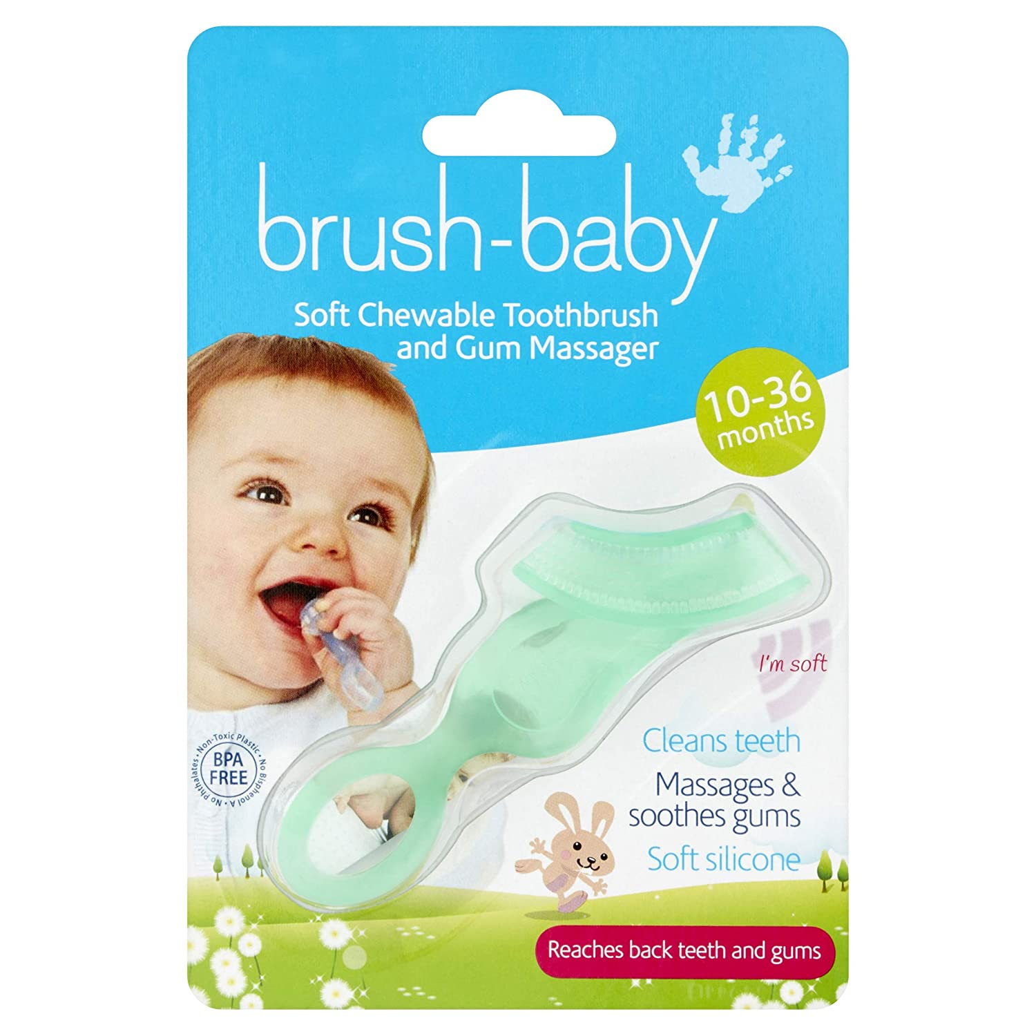 Brush-Baby Soft Clear Chewable Toothbrush (10months - 3years) - Massages, Soothes & Cleans BabyCenter BRB001 X96