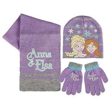 Handschuhe Schal f/ür M/ädchen Frozen Set mit M/ütze Die Eisk/önigin