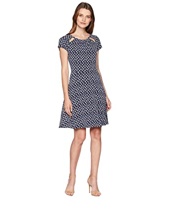 5311f1fc5c5 Michael Kors Womens Printed Cutout Fit   Flare Dress True Navy White ...