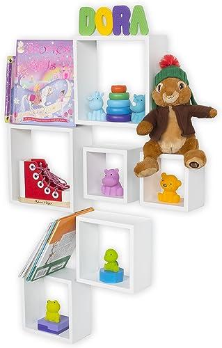 Wallniture Modern Nursery Room Decor Box Storage Floating Shelves White Set of 6
