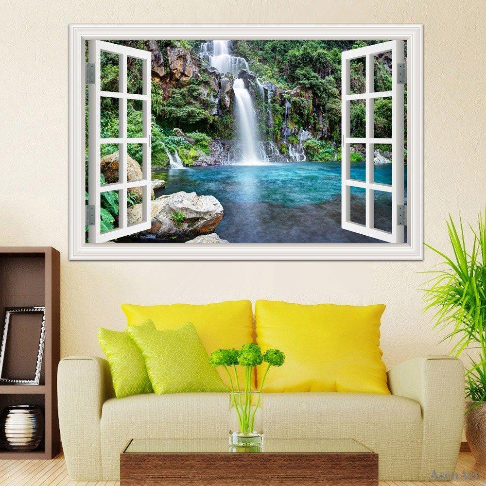 Amazon.com: 3D Wall Sticker Decor Window View Waterfall Wall Decals ...
