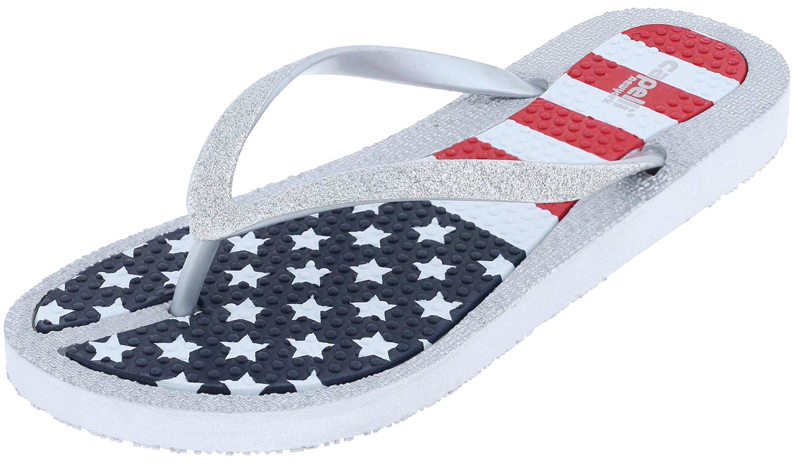 Capelli New York Ladies Fine Glitter On American Flag Printed Flip Flops Silver Combo 9