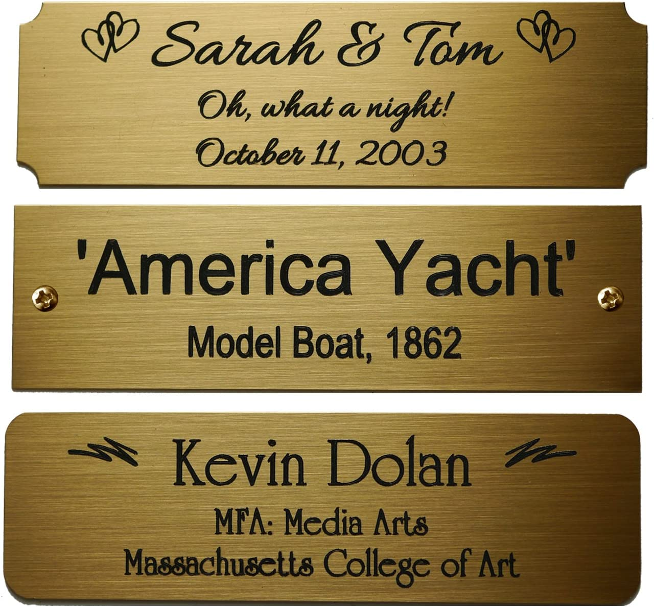 "Size: 3-1/2""W x 1"" H, Personalized, Custom Engraved, Brushed Gold Solid Brass Plate Picture Frame Name Label Art Tag for Frames, with Adhesive Backing or Screws - Indoor use only"