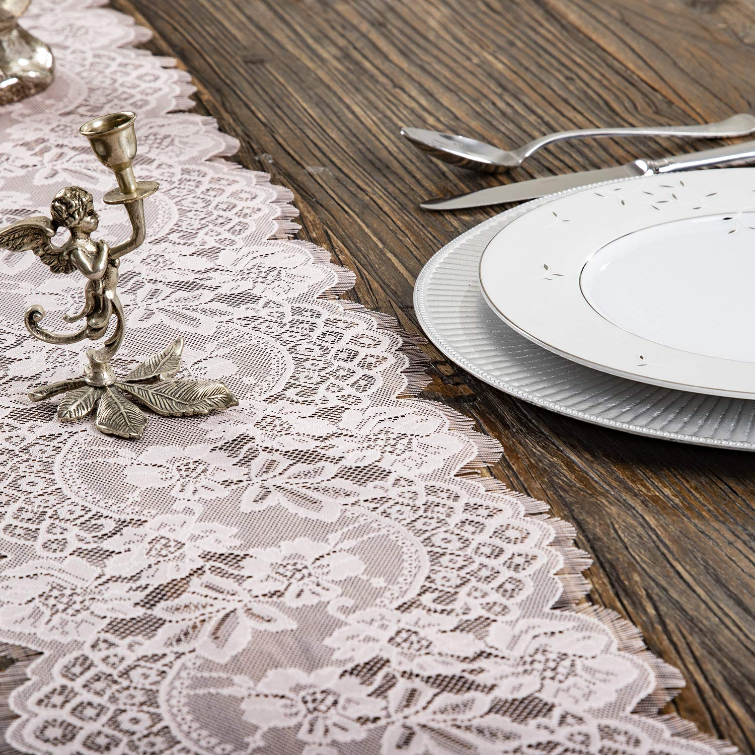 Embroidered and Durable Blush Pink Lace Table Runner-Feminen 12''x120'' with Floral Fringe-Perfect for Outdoor and Chic Wedding and Bridal/Baby Shower Decorations (1 Piece)