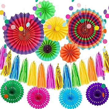 36 Piezas Ventiladores de Papel Hueco Multicolor Papel ...