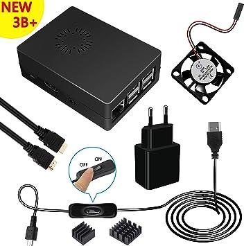 Kit para Raspberry Pi 3 modelo b+ Caja 5V 2,5A alimentación HDMI Cable Ventilador disipadores: Amazon.es: Electrónica