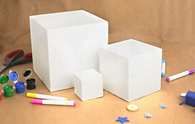 MT Products Hard Foam Blocks (4 Pack) | 6 x 6 x 6 Inch Non-Squishy Craft Foam Cubes | Polystyrene Brick for Arts and Crafts, Sculptures, Floral Arrangements...