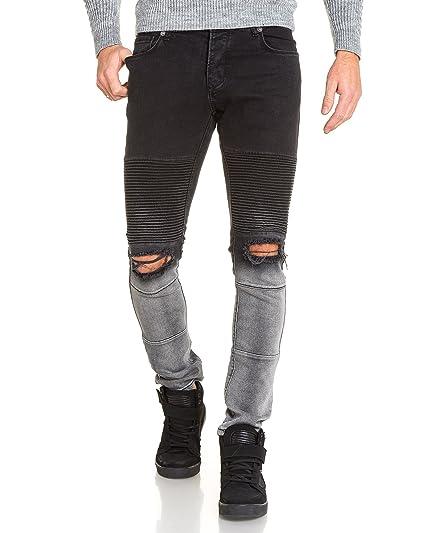 4dcc325d31 BLZ Jeans - Jean Homme Fashion Noir et Gris troué aux Genoux - Couleur: Noir