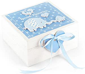 Mousehouse Gifts - Cajita de madera para recuerdos - Con elefantes - Azul: Amazon.es: Bebé