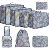 BAGAIL 8 Set Packing Cubes, Lightweight Travel Luggage Organizers with Shoe Bag, Toiletry Bag & Laundry Bag Flamingo