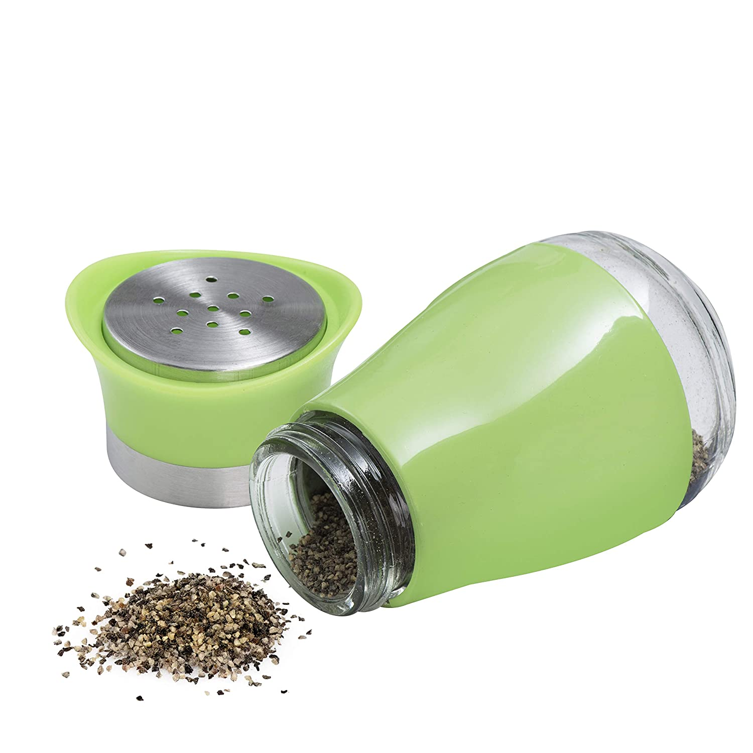 MITBAK Salt and Pepper Shakers Green Kitchen and Dining Room Use 2-Pc. Set Refillable Design Elegant w//Clear Glass Bottom Compact Cooking Classic
