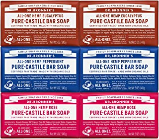 product image for Dr. Bronner's - Pure-Castile Bar Soap (5 Ounce Variety Gift Pack) Eucalyptus, Peppermint, Rose - Made with Organic Oils, For Face, Body and Hair, Gentle and Moisturizing