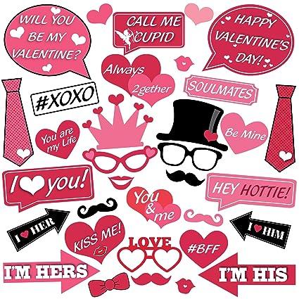 Amazoncom 34 Pcs Large Valentine Days Photo Booth Props