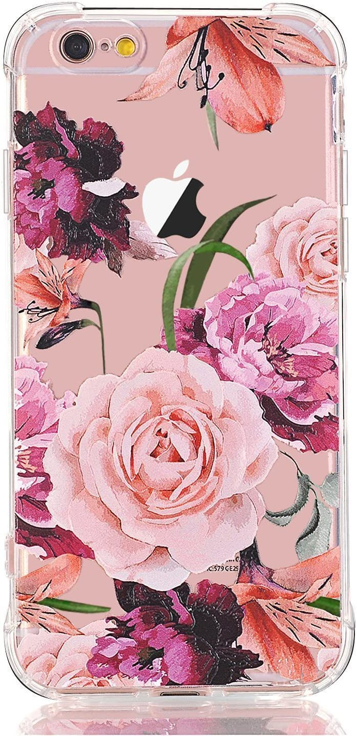 iPhone 5 Case,iPhone 5s Case with Flowers, LUOLNH Slim Shockproof Clear Floral Pattern Soft Flexible TPU Back Cover -Purple Rose