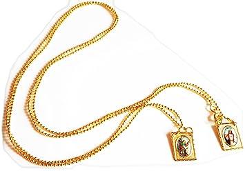 Arcángel San Miguel y sagrado corazón Jesús escapular, Collar chapado en oro de 18K....