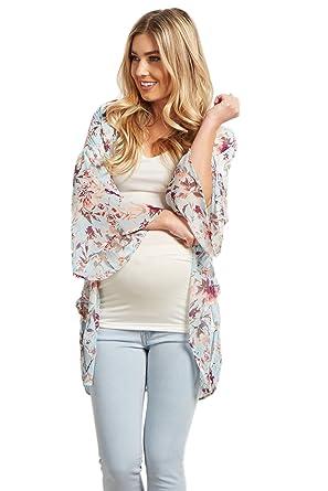 f41161350f381 PinkBlush Maternity Light Blue Floral Chiffon Bell Sleeve Kimono, Large at  Amazon Women's Clothing store: