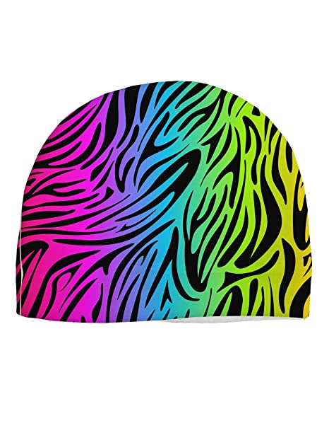 1af6544043e Image Unavailable. Image not available for. Color  TooLoud Rainbow Zebra  Print Adult Fleece Beanie Cap Hat All Over Print