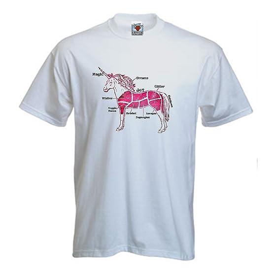 Bullshirt 's Herren 's Butcher Einhorn Schnitte T-Shirt, weiß ...