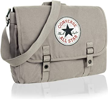 f764e6310a1 Converse bags 98306A Vintage Patch Canvas Shoulder Bag Light Grey Grey   Amazon.co.uk  Luggage