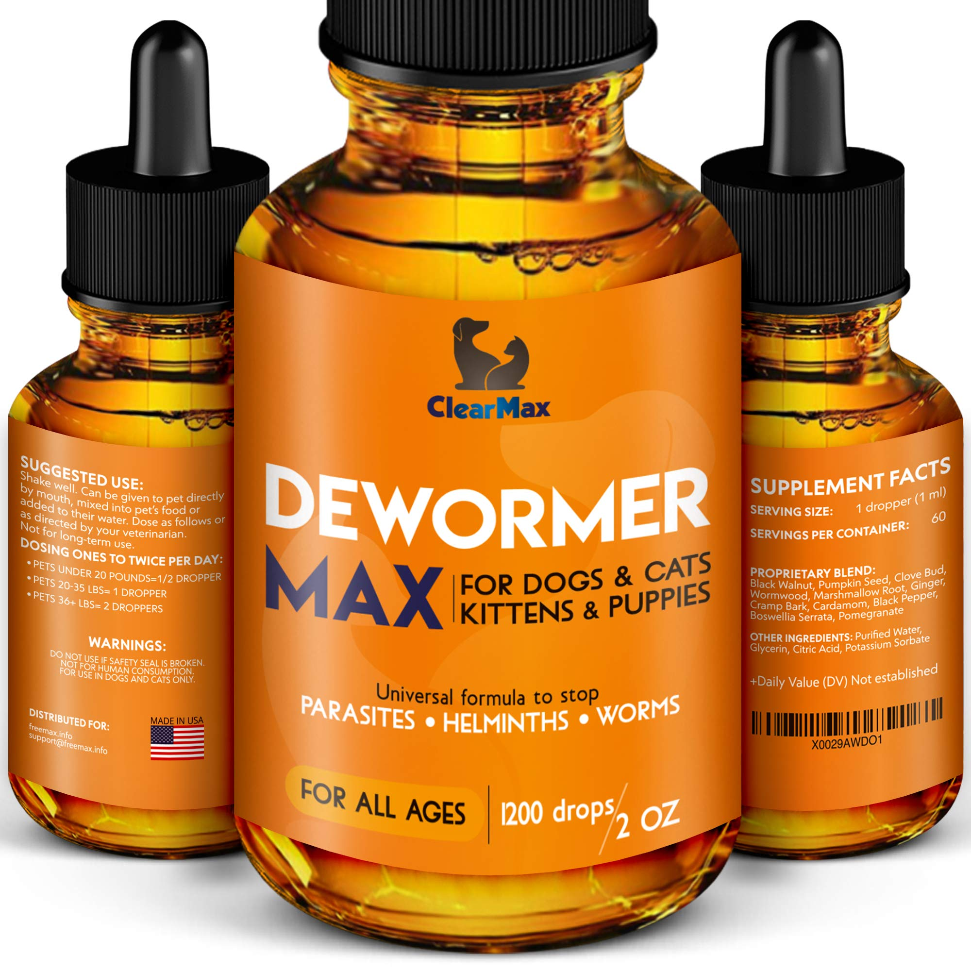 Dewormer + for Dogs and Cats - Natural Treatment from Tapeworm, Roundworm, Whipworm, Hookworm, and Nematode - Liquid Herbal Dewormer - for Pets Natural Canine Dewormer for Dogs (2 oz) by Clear-Max