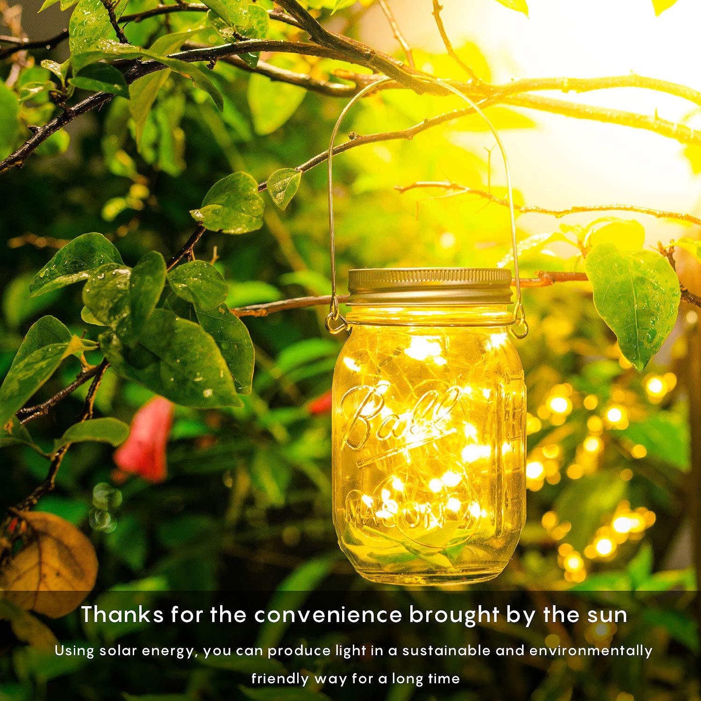 4M 40 LED leuchtet Perlen Glas H/ängeleuchte String Laterne Dekoration f/ür Weihnachten Hochzeit Solar Mason Jar Licht Wasserdichte Lichterkette im Glas Warmwei/ß Herefun Solarlampen Au/ßen