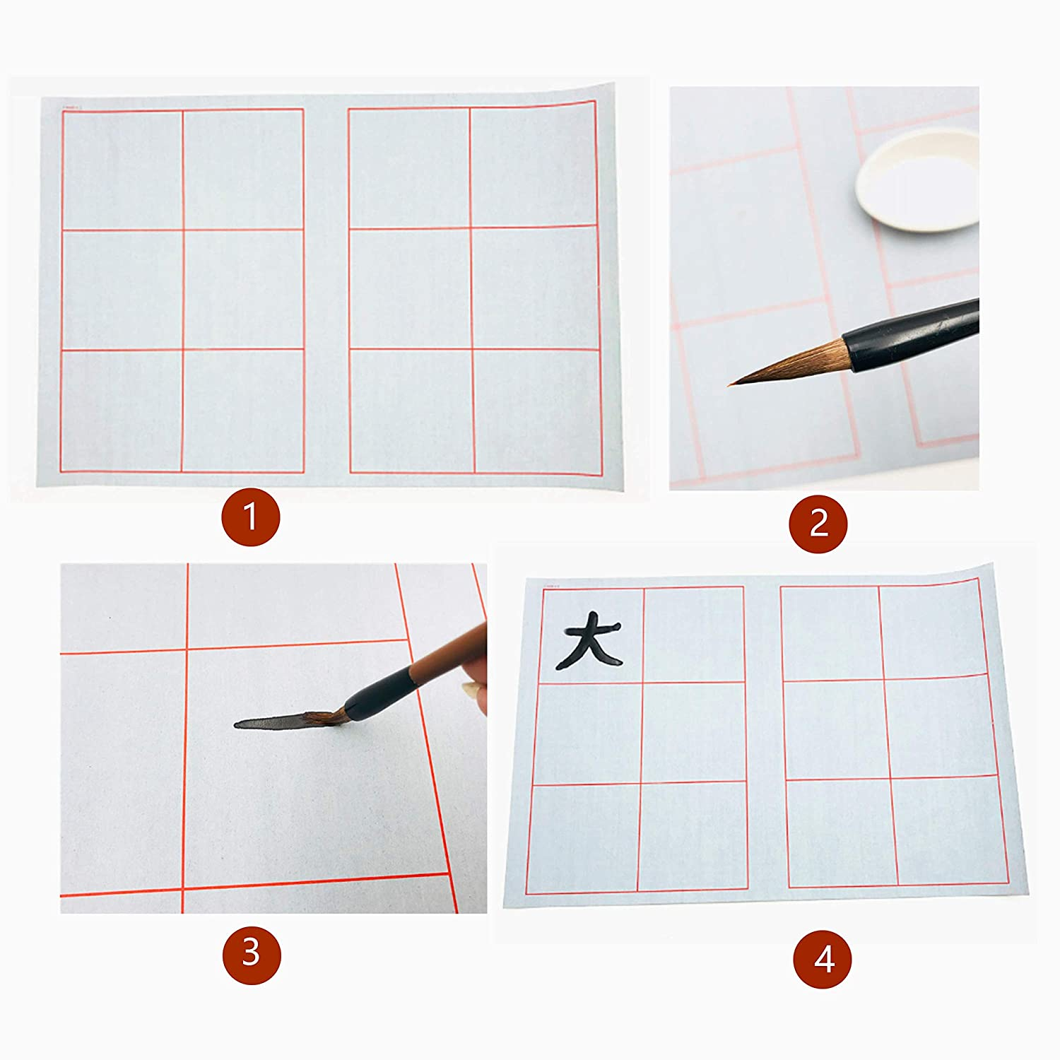 2 Styles Bamboo Wrap and Water Dish,Copybook Rewritable for Calligraphy Beginners Practice Painting DelieKee Chinese Calligraphy Set Reusable Water Writing Magic Cloth with Drawing Brush
