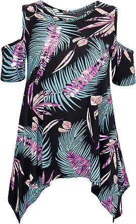 New Ladies Cut out Cold Shoulder Floral Print Hanky Hem Top Dress Plus Sizes
