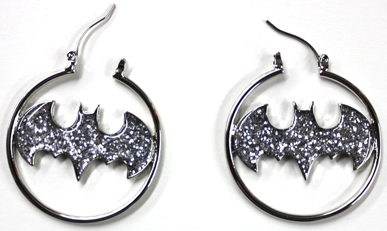 "316L Surgical Steel, Batman Glitter Fashion 1.5 ""Hoop Earring Pair Bat man"