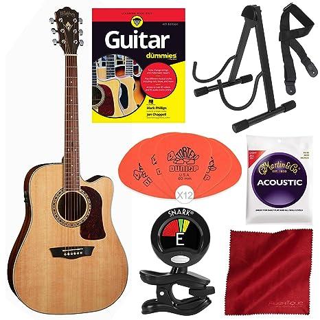 Washburn Heritage Series HD10SCE - Guitarra acústica eléctrica para dummies, soporte para guitarra estable,