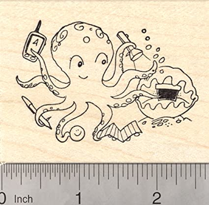 Amazon Geocaching Octopus Rubber Stamp With Geocache In Giant