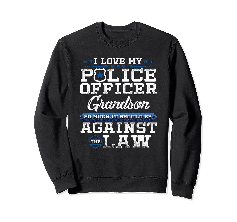 Thin Blue Line Sweatshirt Police Grandson Support Apparel-alottee gift