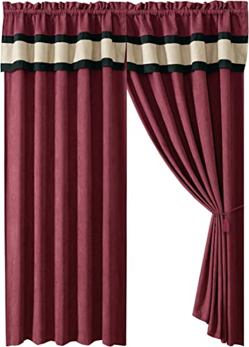 Micro Denier Suede 4 – Piece Burgundy, Taupe Warm Color Block Curtain Set, Drapes Window Panels 120 Wide X 84 Tall with Attached valances and Sheer Backing
