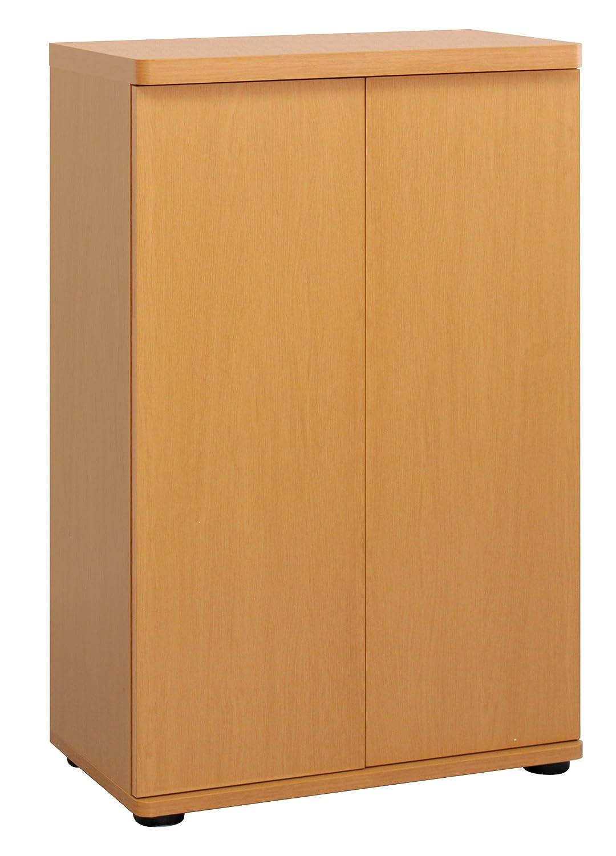 木製扉シューズボックス (ナチュラル) 【キャビネット/木目/可動棚あり/玄関収納】 B01B5SOZ3S ナチュラル ナチュラル