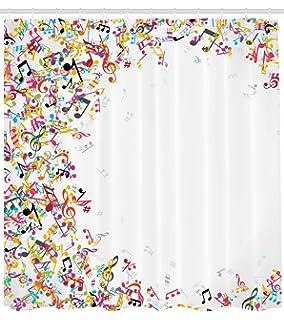 ABAKUHAUS Música Cortina de Baño, Notas Musicales Coloridas con Mrco Festival Canto Disfrutar Temática Moda…