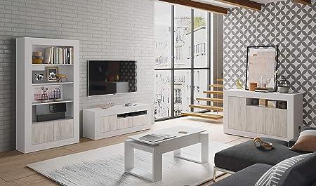 Habitdesign 036629A - Estanteria 5 estantes 2 Puertas, libreria Modelo Baltik, Acabado en Color Blanco Artik y Blanco Velho, Medidas: 94 cm (Ancho) x 181 cm (Alto) x 35 cm (Fondo)