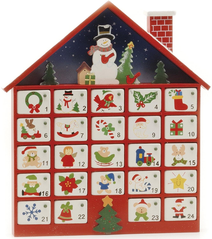 Brillantemente Madera Pintada Casa Calendario Adviento UK Christmas World