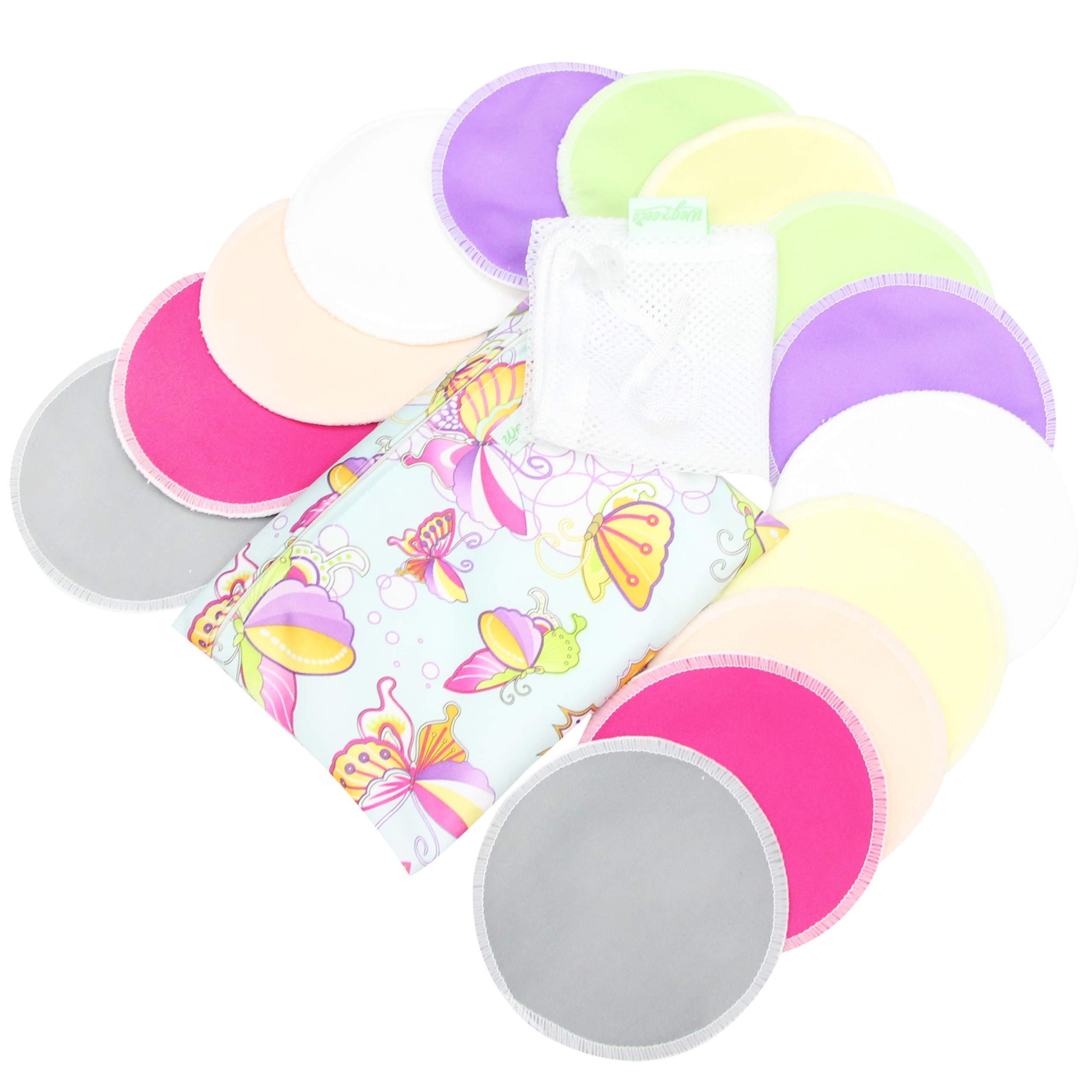 Bamboo Nursing Pads (14 Pack) + Laundry Bag & Travel Storage Bag, 2 Sizes: 3.9/4.7 inch Option – Washable & Reusable…