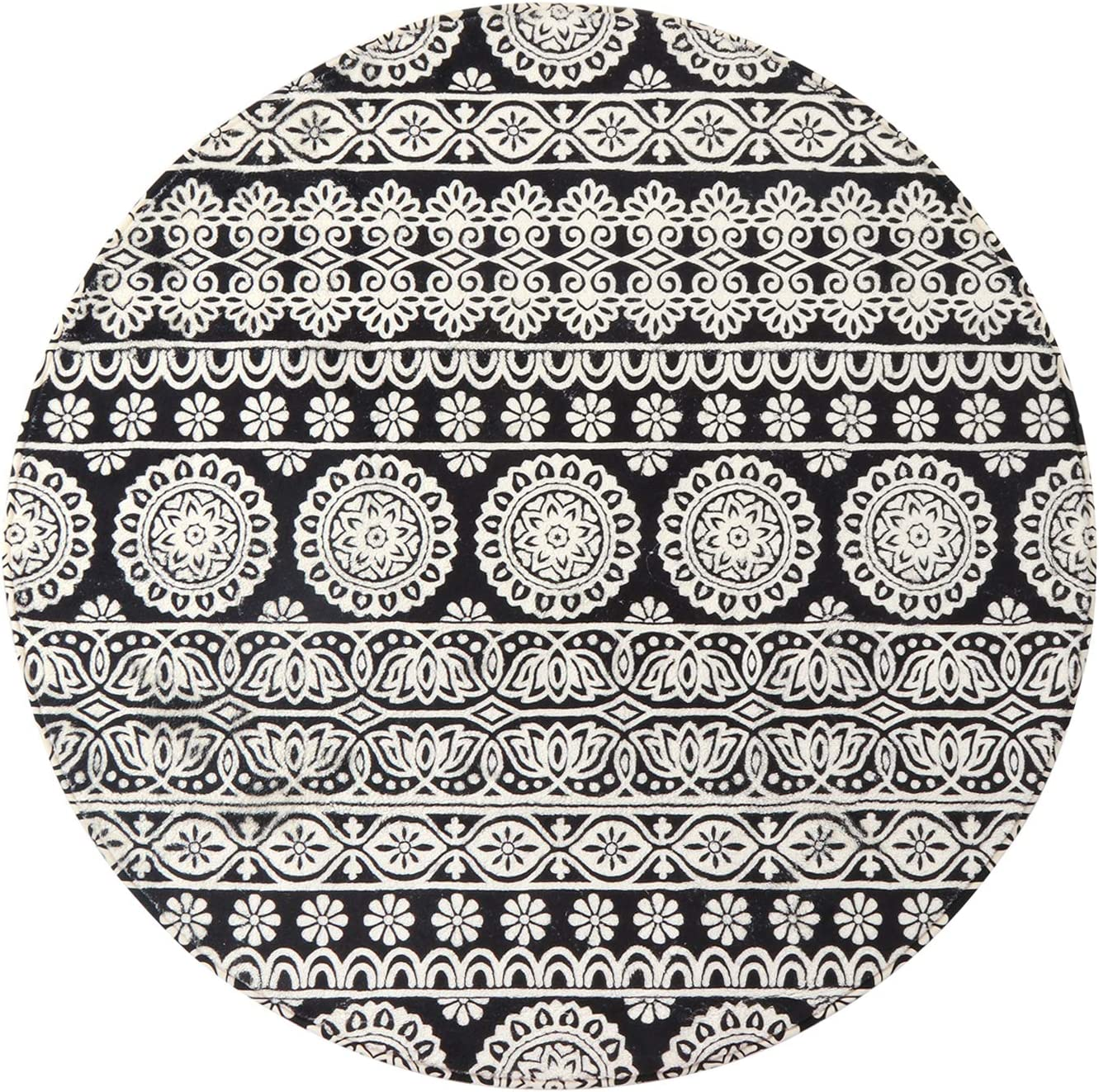 Mandala Round Area Rug 3.3' Diameter, KIMODE Vintage Soft Faux Wool Area Rug Accent Distressed Collection Non-Slip Machine Washable Indoor Throw Rugs Floor Carpet for Bedrooms Living Room Laundry Room