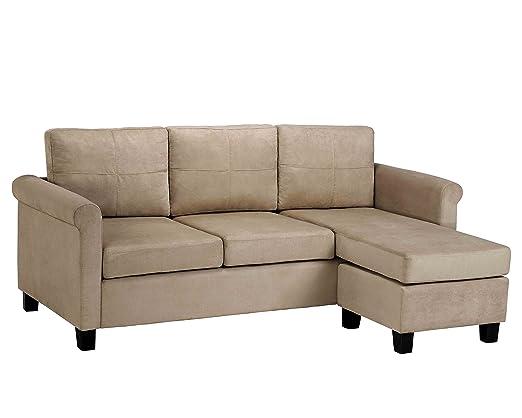 Amazon.com: Dorel Asia Versatile Small Spaces Sectional Sofa ...