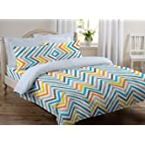 Ahmedabad Cotton 144 TC Cotton Double Bedsheet with 2 Pillow Covers, Multicolour
