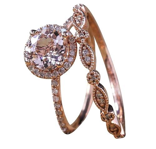 Juego de anillos de boda con diseño vintage de Milgrain de 2 ...