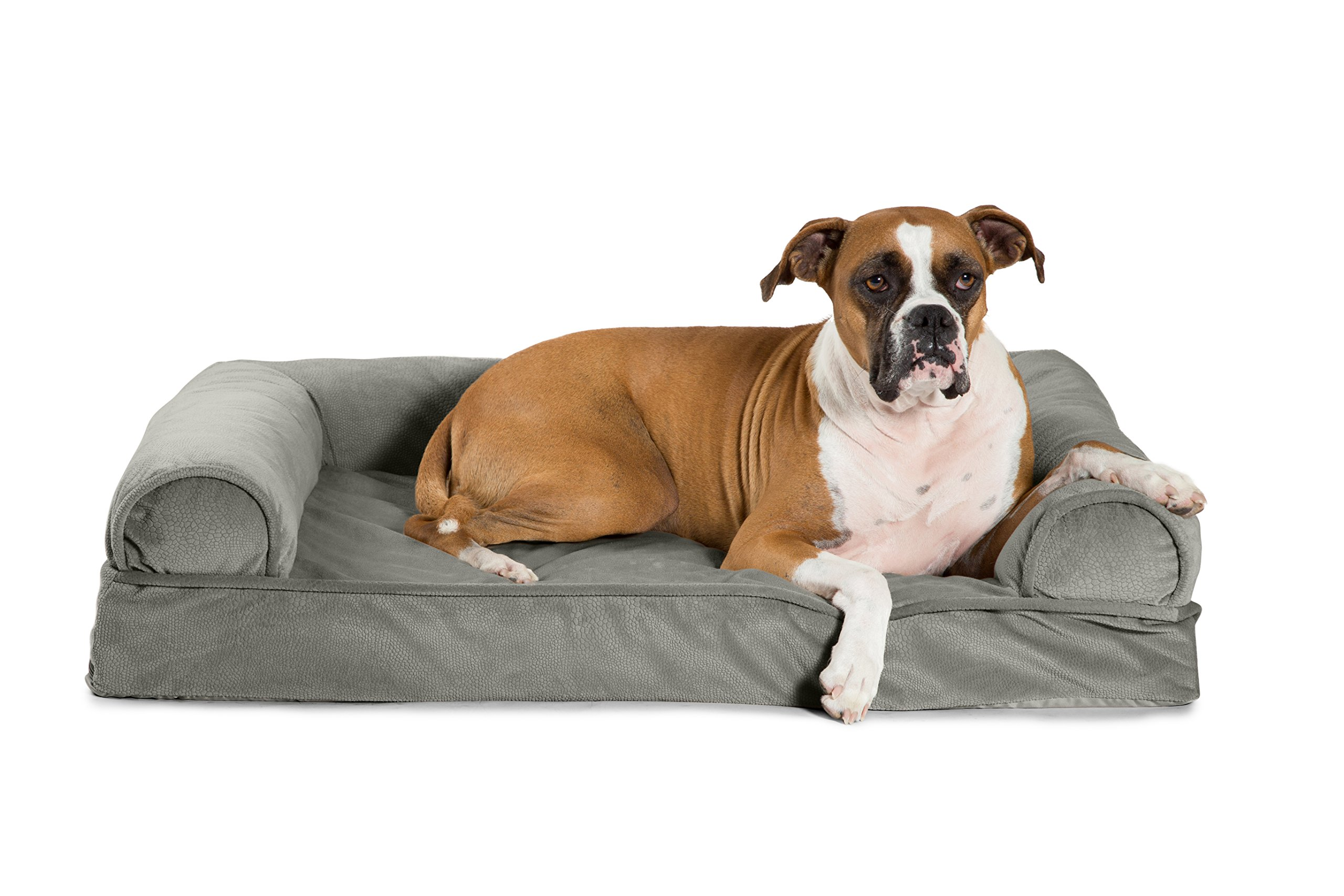 Best Friends by Sheri Orthopedic Joint Relief Bolster Sofa - Luxury Dog Bed with CertiPUR High-Density USA Foam for Superior Support and Cozy Comfort - Removable Zippered Cover, Machine Washable, Water-Resistant Bottom - For Medium Pets Up to 50lbs, Grey by Best Friends by Sheri