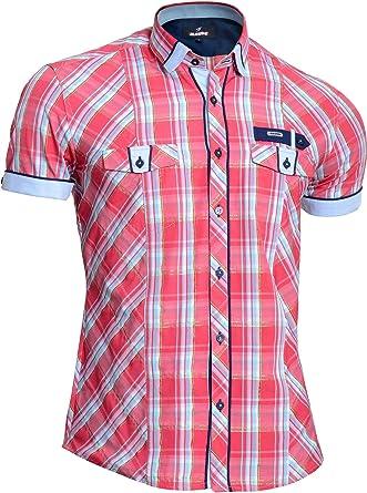 Mondo Camisa a Cuadros de Manga Corta para Hombre Hilos de algodón Dorado Rosado: Amazon.es: Ropa y accesorios